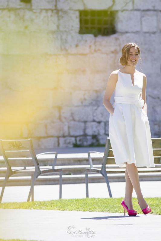 vestido de novia corto con bolsillos