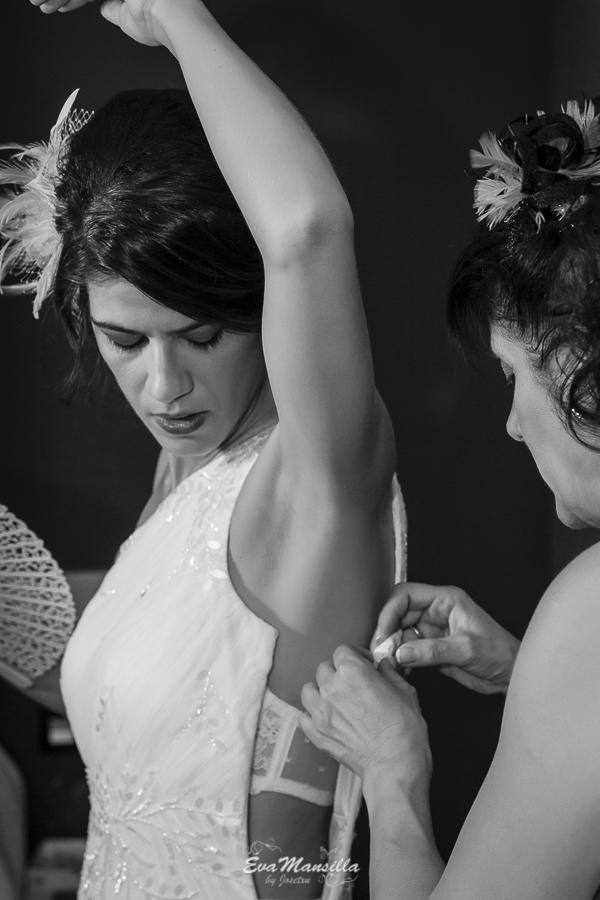 preparativos vestido novia blanco y negro