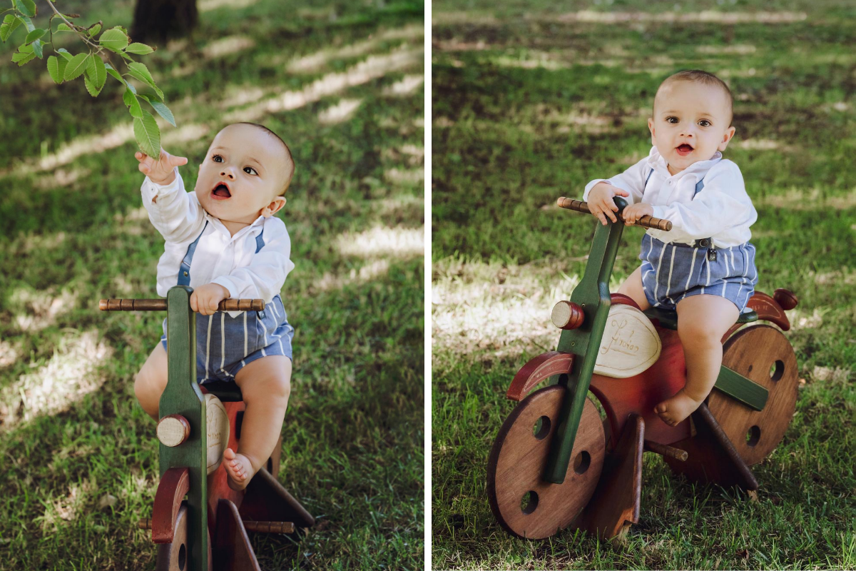 díptico bebé jardín moto madera antigua