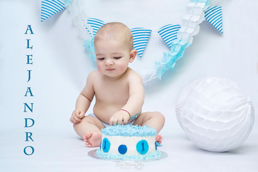 pastel azul primer cumpleaños del bebé